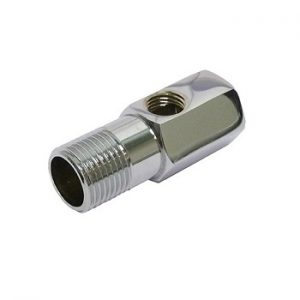 Chrome brass 1-2inch adaptor with 1-4inch side port
